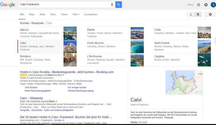 Google Reisesuche bei Klick auf Kachel