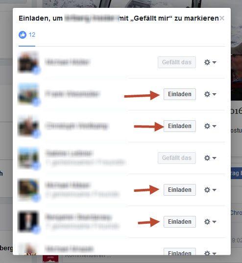 User die auf Facebook geliked haben einladen Fan zu werden