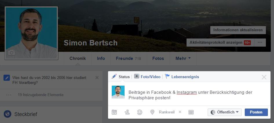 Sichtbarkeits-Einstellungen für Facebook & Instagram Posts