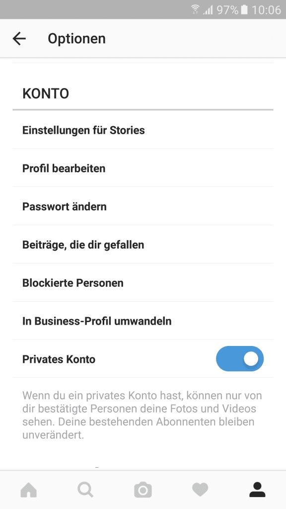Instagram Privatsphäre durch privates Konto