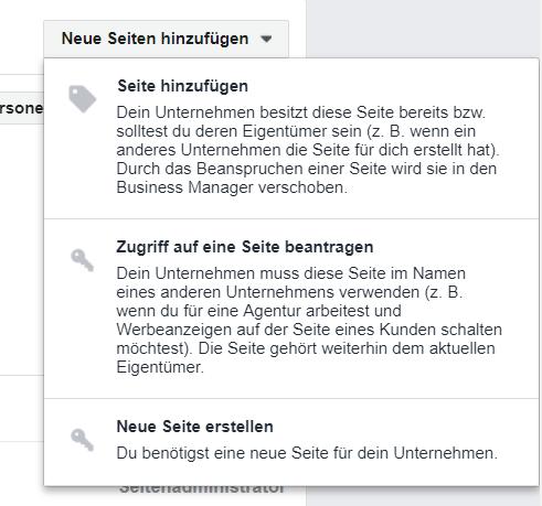 FB Seiten hinzufügen im FB Business Manager