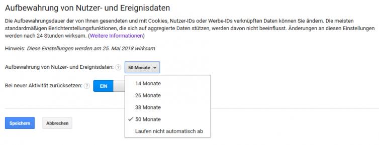 Wählen Sie die Dauer der Datenaufbewahrung in Google Analytics aus.