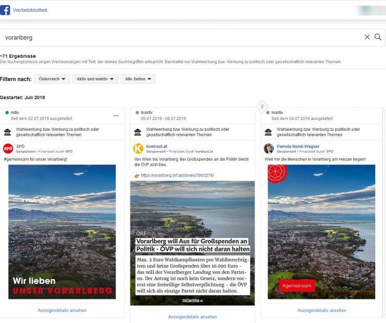 Aktuelle Facebook Ads zum Thema Vorarlberg finden