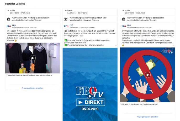 Facebook Werbeanzeigen einer Seite in der Übersicht