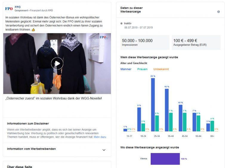 Facebook Werbung - Infos zu einzelner Anzeige über Budget, Zielgruppe, demographische Angaben