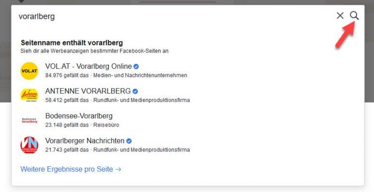 Facebook Werbung zum Thema Vorarlberg finden