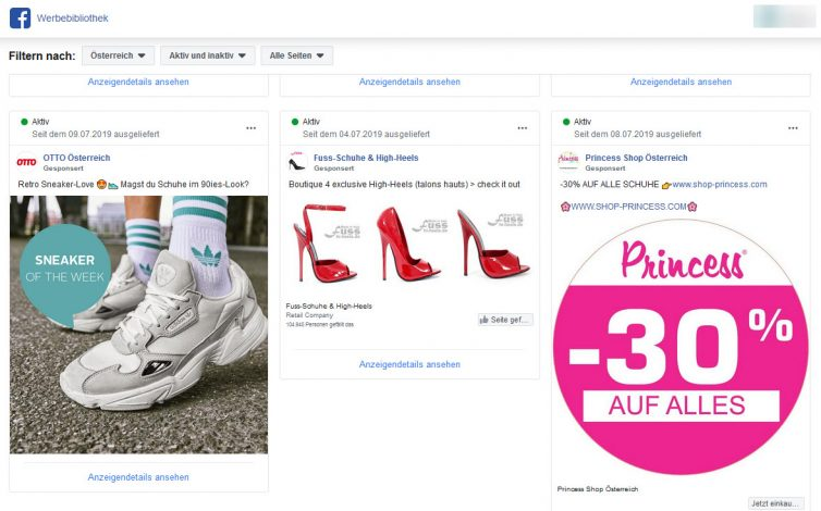 Werbeanzeigen zum Thema Schuhe - FB Ads