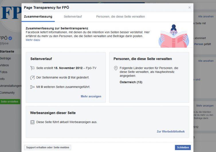 Facebook Seitentransparenz am Beispiel der FPÖ