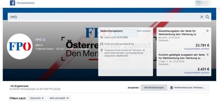 Facebook Anzeigen der FPÖ in der Werbebibliothek