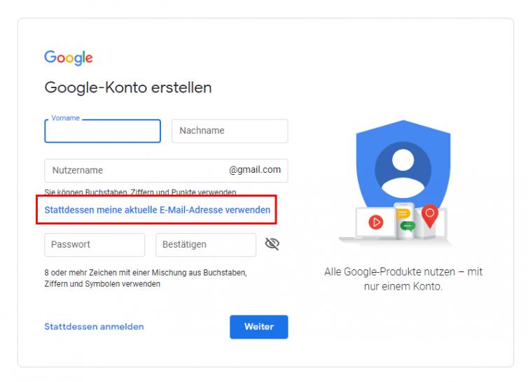 google-konto-erstellen-ohne-gmail