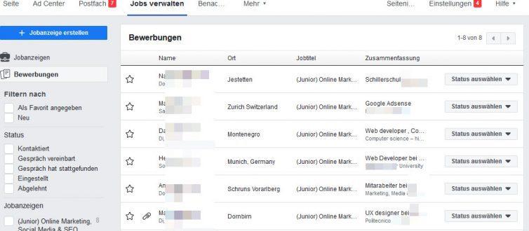Facebook Jobs verwalten