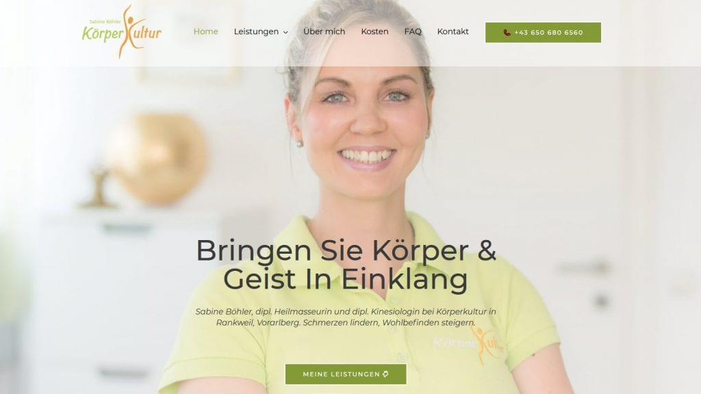 Körperkultur Sabine Böhler Rankweil: Heilmassage, Kinesiologie, Lymphdrainage, uvm.